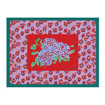 Leopard Rectangular Placemat - Red