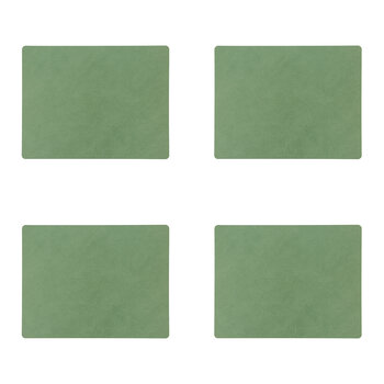Double Square Table Mat - Set of 4 - Anthracite / Pastel Green