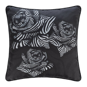 Zebra Rose Silk Cushion - 40x40cm - Black