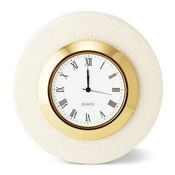 Shagreen Desk Clock - Cream