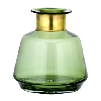 Miza Glass Short Vase - Green