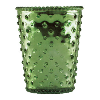 Hobnail Glass Candle - Chrome Green Evergreen