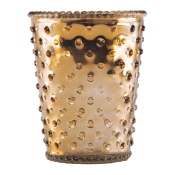 Hobnail Glass Candle - Chrome Gold Latte