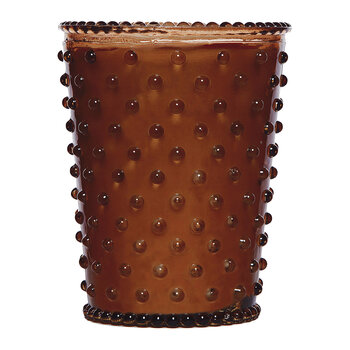 Hobnail Glass Candle - Gingerbread