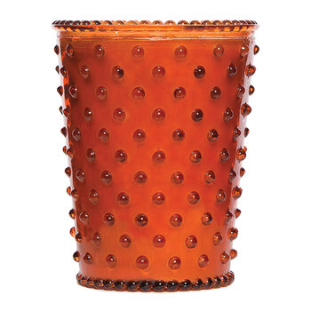Hobnail Glass Candle - Amber