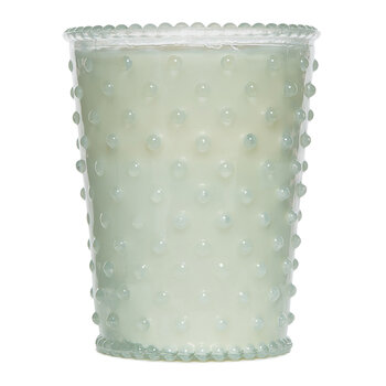 Hobnail Glass Candle - Snow