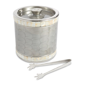 Classic Large Ice Bucket with Tongs - Platinum