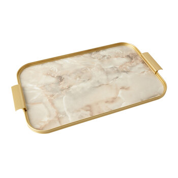 Ribbed Marble Tray with Handles - Onyx