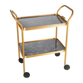 Marble Drinks Trolley - Dark Grey/Gold