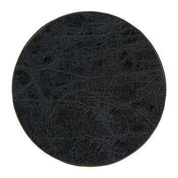 Mottled Look Vegan Leather Coasters - Set of 4 - Black