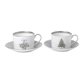 Winter White Teacups & Saucers - Set of 2