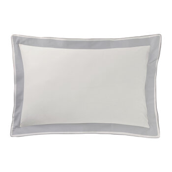 Marceau Pillowcase - White/Slate Grey
