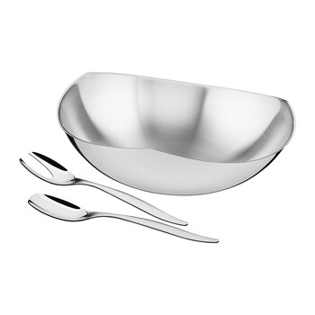 Stainless Steel Salad Bowl with Serving Spoon and Fork