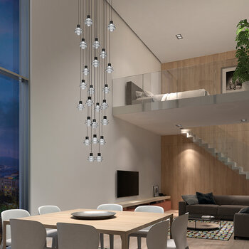 Drop 24 Lights Ceiling Pendant - Ebony Black - Frosted Glass