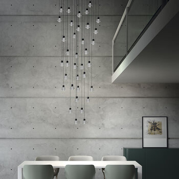 Drop 36 Lights Ceiling Pendant - Ebony Black - Frosted Glass