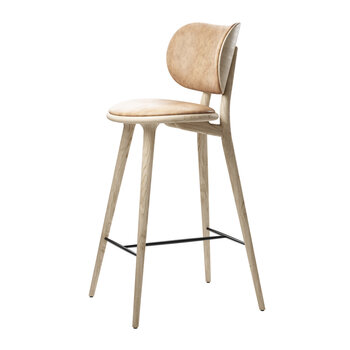 High Stool with Backrest - Natural Tanned Leather