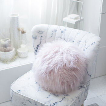 Faux Fur Snowball Cushion - Himalaya Blush