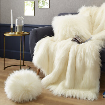 Faux Fur Snowball Cushion - Himalaya Ivory