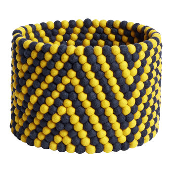 Bead Round Basket - Yellow Chevron