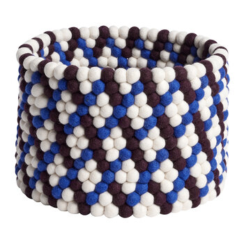 Bead Round Basket - Burgundy Basket Weave