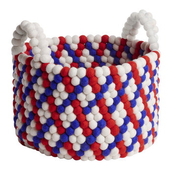 Bead Basket with Handles - Red Basket Weave