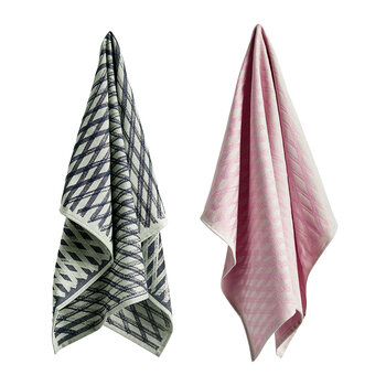 Torchons Marker Diamond - Lot de 2 - Gris/Rose