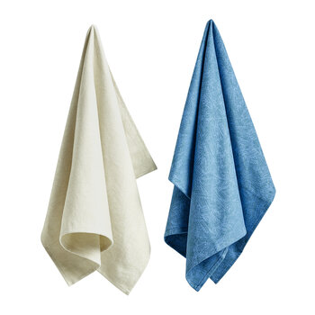 Ballpoint Scribble Tea Towels - Set of 2 - White/Blue