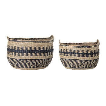 Seagrass Basket with Handles - Set of 2 - Black