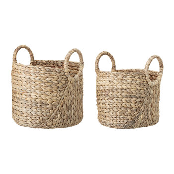 Water Hyacinth Basket with Handles - Set of 2 - Natural