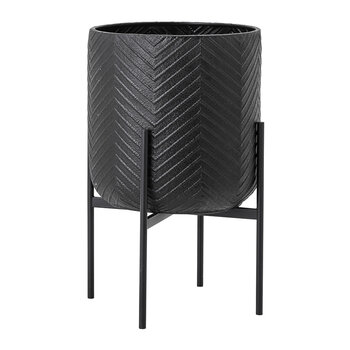 Texture Flowerpot with Stand - Black