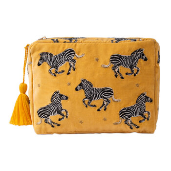 Zebra Cosmetic Bag with Tassel - Mustard - Large