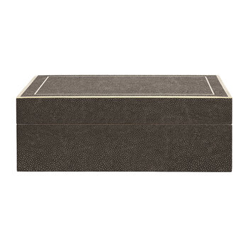 Mateus Faux Shagreen Box - Dark Mushroom - Large