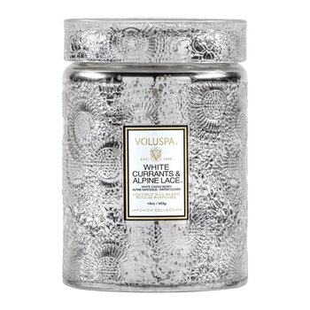 Japonica Large Glass Jar Candle - White Currants & Alpine Lace