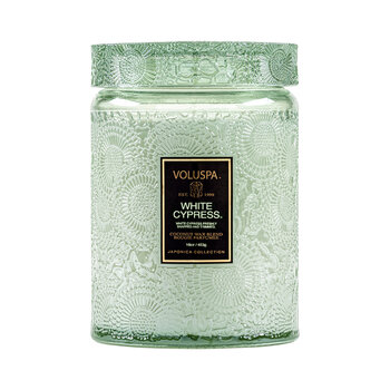 Japonica Large Glass Jar Candle - White Cypress