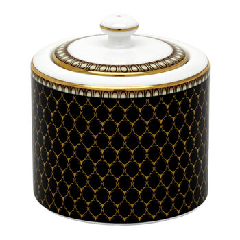 Gordon Castle Antler Trellis Covered Sugar Bowl - Black