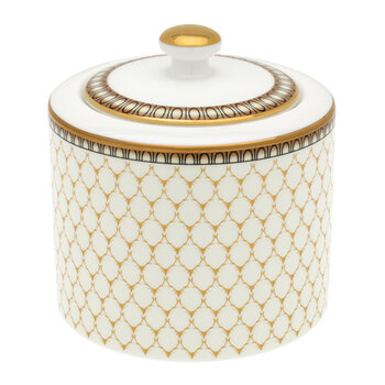 Gordon Castle Antler Trellis Covered Sugar Bowl - Ivory