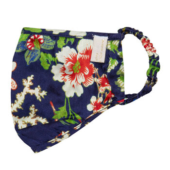 Silk Face Covering - Navy Flowers - Navy Flowers