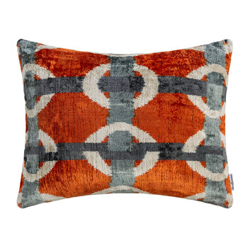 Velvet Cushion - 40x50cm - Orange/Blue Blocks
