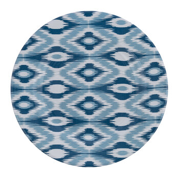 Ceramic Ikat Dinner Plate - Blue/White
