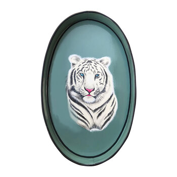 Hand-painted Iron Tray - White Tiger