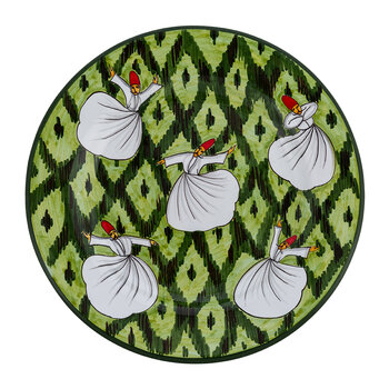 Derviches Hand Painted Ceramic Plate - Green