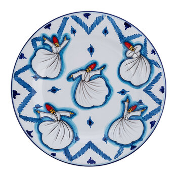 Derviches Hand Painted Ceramic Plate - Blue
