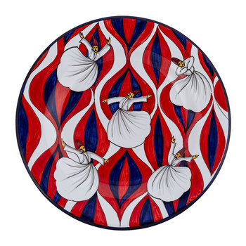 Derviches Hand Painted Ceramic Plate - Red