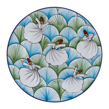 Derviches Hand Painted Ceramic Plate - Green/Blue