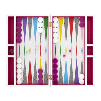 Lacquer Checkerboard Backgammon Set - Multi