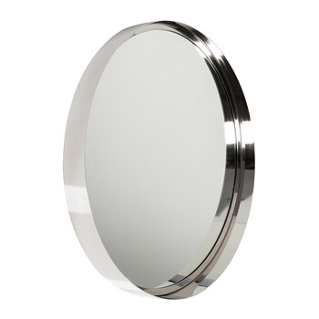 Tapered Frame Round Mirror - Silver