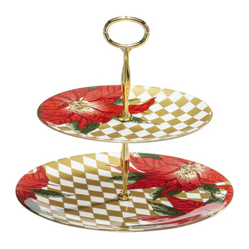 Parterre Poinsettia 2 Tier Coupe Plate Stand - Gold