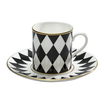 Parterre Coffee Cup & Saucer - Set of 6 - Black
