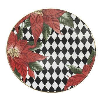 Parterre Poinsettia Coupe Dinner Plate - Black