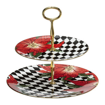 Parterre Poinsettia 2 Tier Coupe Plate Stand - Black